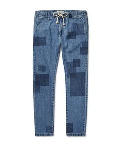 Remi Relief | Slim-Fit Patchwork-Effect Denim Jeans Blue