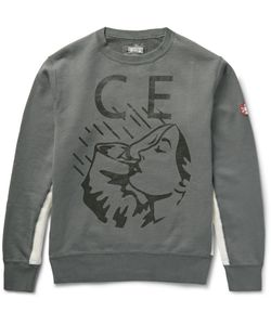 CAV EMPT | Printed Panelled Loopback Cotton-Jersey Sweatshirt Gray