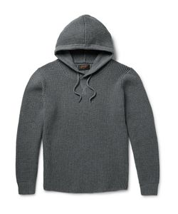 Beams Plus | Waffle-Knit Cotton-Blend Hoodie Gray