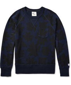 Todd Snyder + Champion | Floral-Print Loopback Cotton-Jersey Sweatshirt Blue