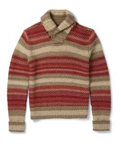RRL | Shawl-Collar Crochet-Knit Linen-Blend Sweater Brown