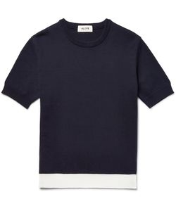Aloye | Contrast-Trimmed Knitted Cotton Sweater Blue