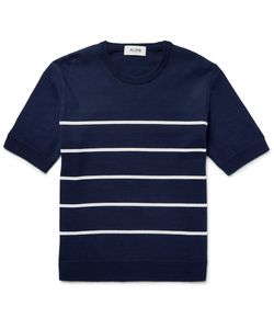 Aloye   Striped Cotton Sweater Blue