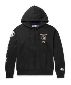 Blackmeans | Printed Loopback Cotton-Jersey Hoodie Black