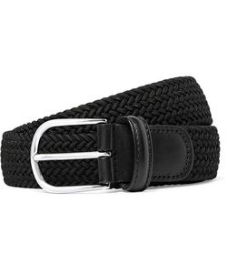 ANDERSON'S | 3.5cm Black Leather-Trimmed Woven Elasticated Belt Black