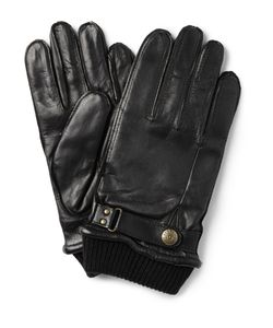 DENTS | Penrith Knit-Trimmed Leather Gloves Black