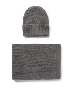 William Lockie | Ribbed Cashmere Hat And Scarf Set Gray