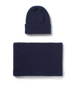 William Lockie | Ribbed Cashmere Hat And Scarf Set Blue