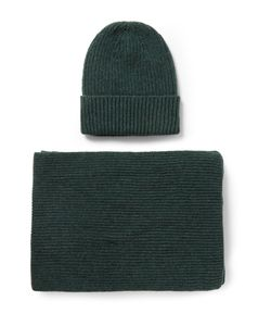 William Lockie | Ribbed Cashmere Hat And Scarf Set Green