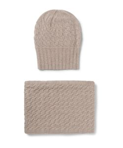 William Lockie | Cable-Knit Cashmere Hat And Scarf Set Brown