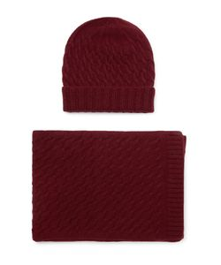 William Lockie | Cable-Knit Cashmere Hat And Scarf Set Burgundy