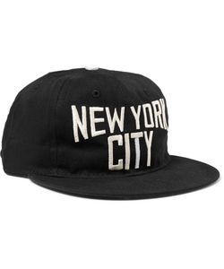 EBBETS FIELD FLANNELS | New York City Embroidered Cotton-Twill Baseball Cap Black