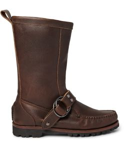 Quoddy | Meddybemps Shearling-Lined Pebble-Grain Leather Boots Brown