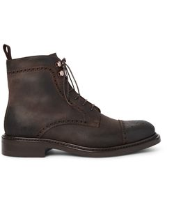 O'Keeffe | Felix Distressed Leather Brogue Boots Brown