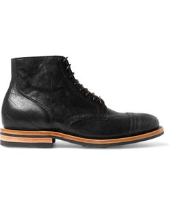 Viberg | Leather Service Brogue Boots Black