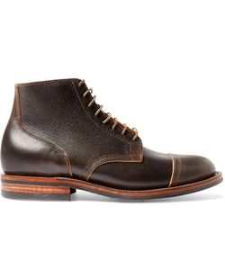 Viberg | Leather Lace-Up Brogue Boots Brown