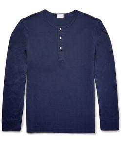 Handvaerk | Pima Cotton-Jersey Henley T-Shirt Blue