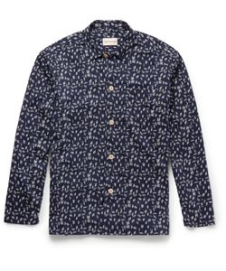 Oliver Spencer Loungewear | Printed Stretch-Cotton Pyjama Shirt Blue