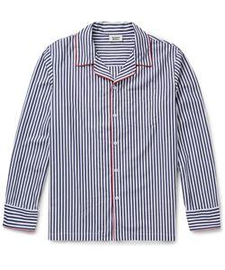 Sleepy Jones   Henry Striped Cotton Pyjama Shirt Blue