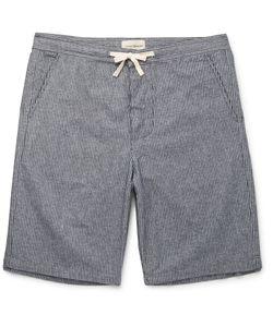 Oliver Spencer Loungewear | Striped Cotton Pyjama Shorts Blue