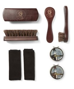 WOLF | Blake Pebble-Grain Leather Shoe Shine Kit Black