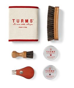 TURMS | College Shoe Care Kit With Leather Case Brown