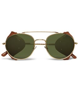 L.G.R | Aviator-Style Leather-Trimmed Metal Sunglasses Gold