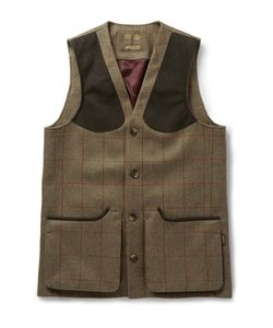 Musto Shooting | Checked Tweed Stretch-Wool Gilet Green