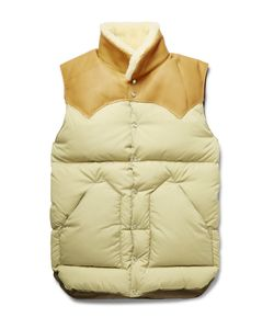 Rocky Mountain Featherbed | Christy Leather And Shearling-Trimmed Shell Down Gilet Brown