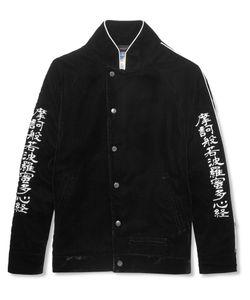 Blackmeans | Embroidered Velvet Bomber Jacket Black