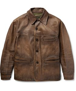 RRL | Barringer Burnished-Leather Jacket Brown