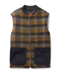 The Workers Club | Checked Wool Gilet Orange