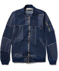 Remi Relief | Patchwork Cotton Bomber Jacket Blue