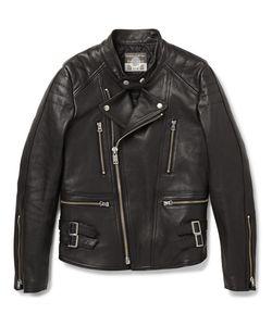 Blackmeans | Slim-Fit Quilted Leather Biker Jacket Black