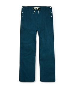 Sasquatchfabrix | Beams Wide-Leg Drawstring Cotton Trousers Blue