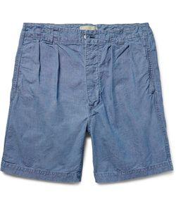 CHIMALA | Pinchecked Cotton Shorts Blue