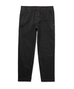 Stüssy | Tapered Overdyed Cotton-Twill Trousers Black
