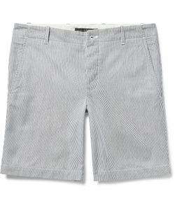 Freemans Sporting Club | Striped Cotton-Pincord Shorts White