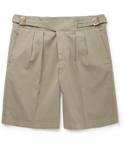 RUBINACCI | Manny Washed Stretch-Cotton Bermuda Shorts Green