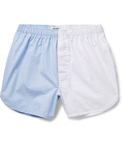Sleepy Jones   Walt Two-Tone Cotton-Poplin Boxer Shorts Blue
