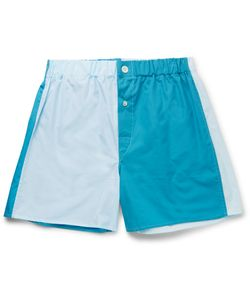 Emma Willis | Patchwork Cotton Boxer Shorts Blue