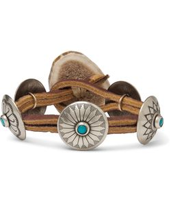 Yuketen | Leather Silver-Tone Horn And Turquoise Bracelet Brown