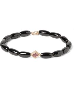 LUIS MORAIS | Spinel Gold And Ruby Bead Bracelet Black