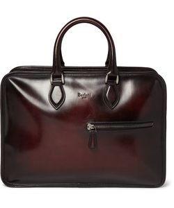 BERLUTI | Un Jour Polished-Leather Briefcase Red