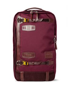 Master Piece | Potential Leather And Suede-Trimmed Canvas Backpack Burgundy