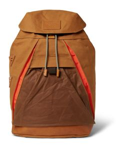 Atelier de L'Armée | Leather-Trimmed Cotton-Canvas Backpack Brown