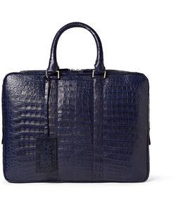 Santiago Gonzalez | Slim Crocodile Briefcase Blue