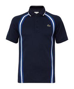 Lacoste Tennis   Striped Piqué Polo Shirt Blue
