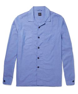Albam | Island Camp-Collar Cotton Shirt Blue