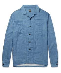 Albam | Island Camp-Collar Checked Cotton Shirt Blue